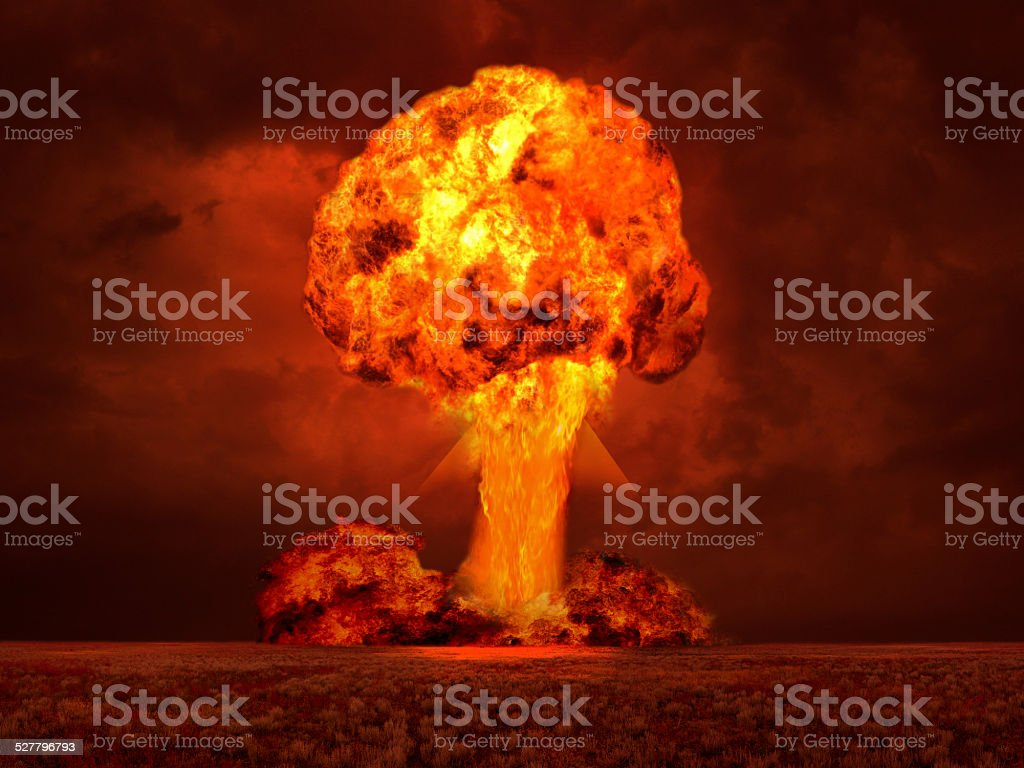 The explosion in the desert stock photo