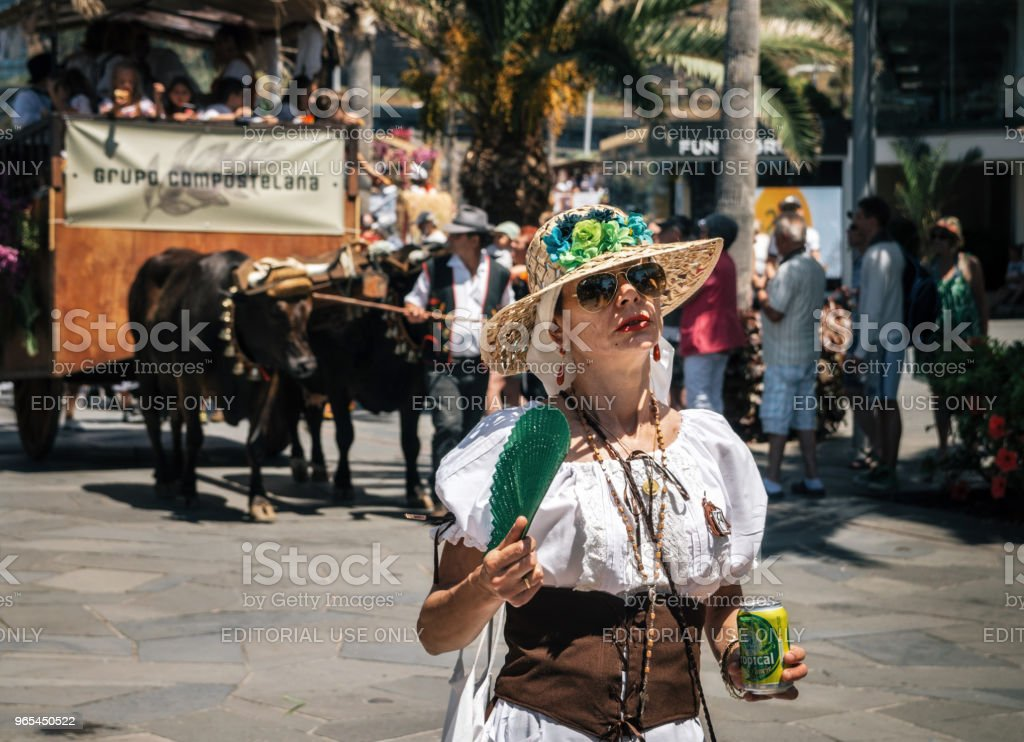 The expressive woman celebrates The Day of the Canary islands royalty-free stock photo