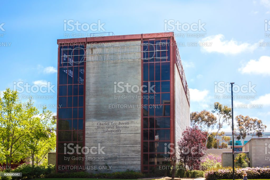 The exterior of Charles Lee Powell Structural Systems Laboratory building of University of California San Diego on a sunny day. stock photo