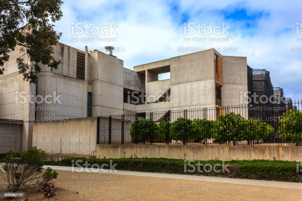The exterior of Salk Institute for Biological Studies (UCSD), founded by Jonas Salk, and designed by Louis Kahn. stock photo