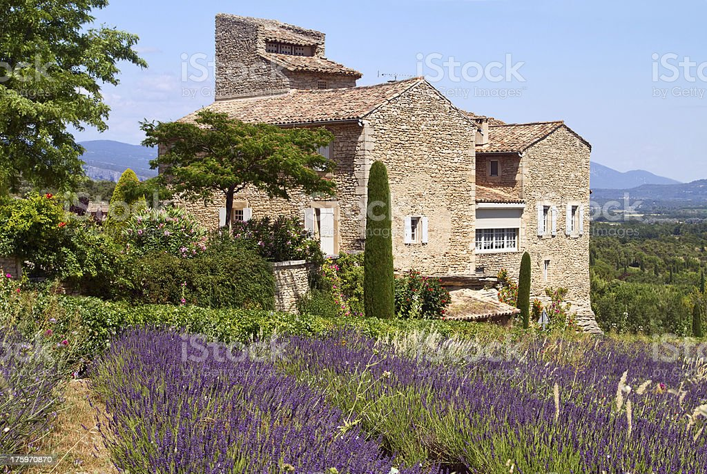 The exterior view of a house in Provence stock photo