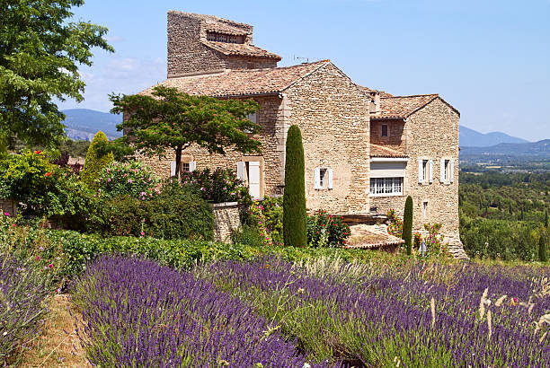 The exterior view of a house in Provence Beatiful house is situated near blooming lavender, Provence, France. provence alpes cote d'azur stock pictures, royalty-free photos & images