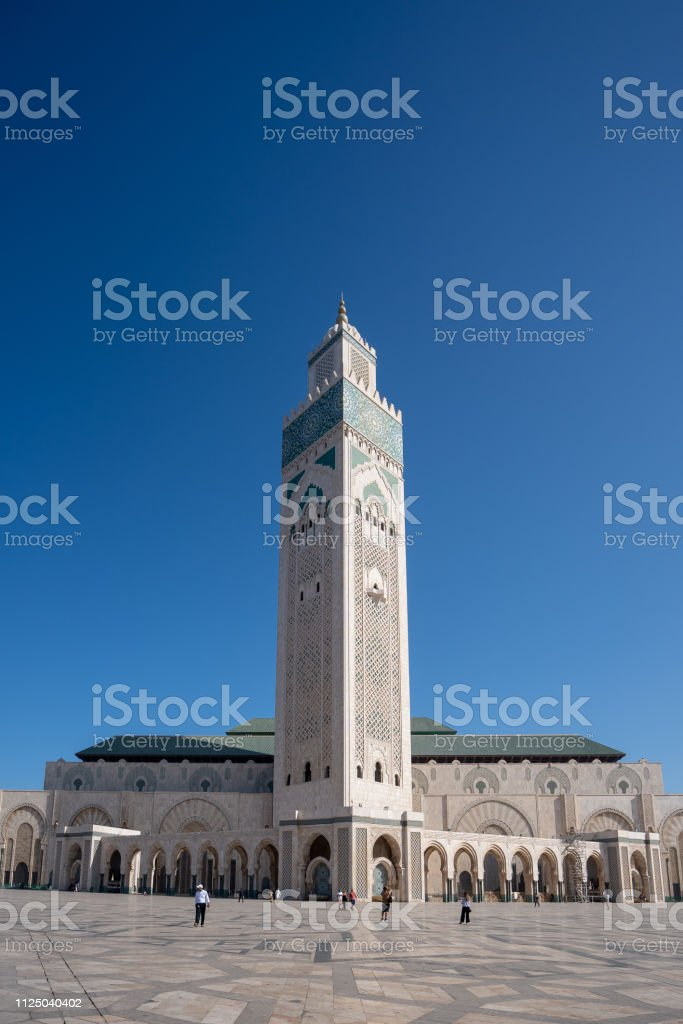 The external view of the Mosquée Hassan II on a sunny day in Casablanca in Morocco stock photo