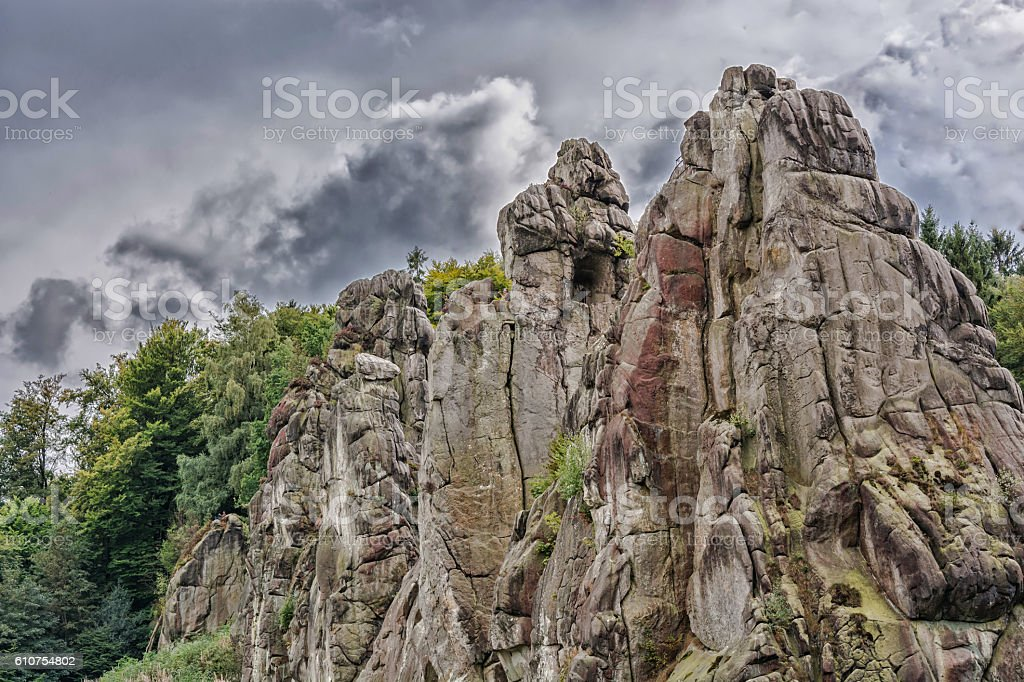 The Externsteine, striking sandstone rock formation in the Teuto stock photo