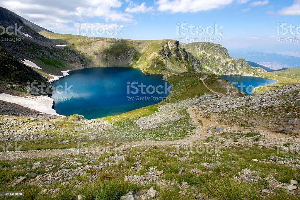 The Eye and The Kidney Lakes, The Seven Rila Lakes, Rila Mountain stock photo