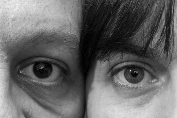The eyes of a woman and a man stock photo