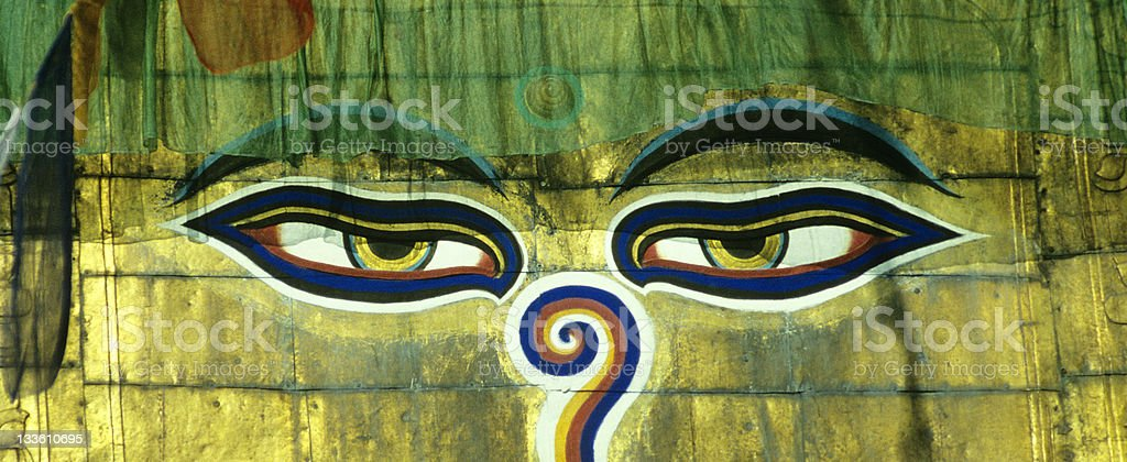 The Eyes of Swayambhunath royalty-free stock photo