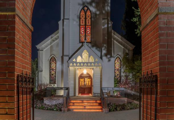 The Façade of Church of the Nativity in Menlo Park California USA stock photo