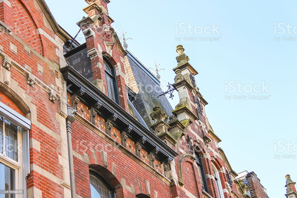 The facade of a beautiful home  in the Dutch town stock photo