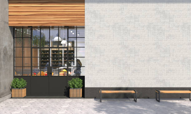 The facade of a store or cafe with an entrance group and blank wall in front view. Free space for signage, advertising banners and posters. Exterior and architecture design. 3D render. The facade of a store or cafe with an entrance group and blank wall in front view. Free space for signage, advertising banners and posters. Exterior and architecture design. 3D render market retail space stock pictures, royalty-free photos & images
