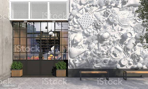The facade of a store or cafe with an entrance group creative of picture id1205515321?b=1&k=6&m=1205515321&s=612x612&h=iewpcu4 knq9sdlr9wagxdop taduwl3rpvtpmzffda=
