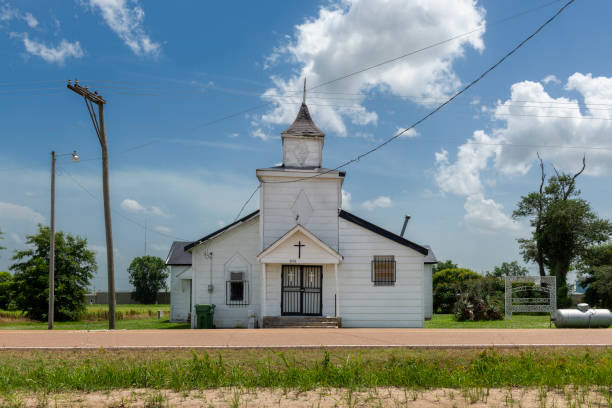 The facade of an old baptist church at the Cobb Road near Tunica stock photo