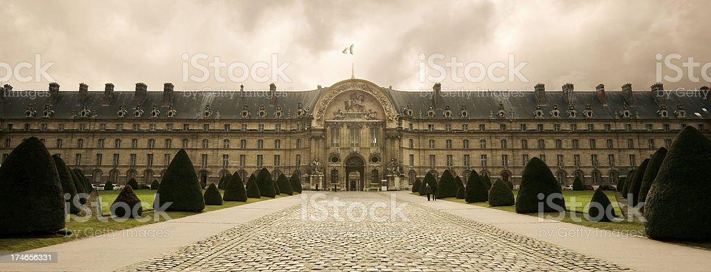 The facade of Les Invalides in Paris stock photo
