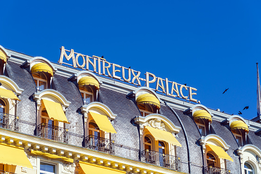 The facade of Montreux Palace hotel