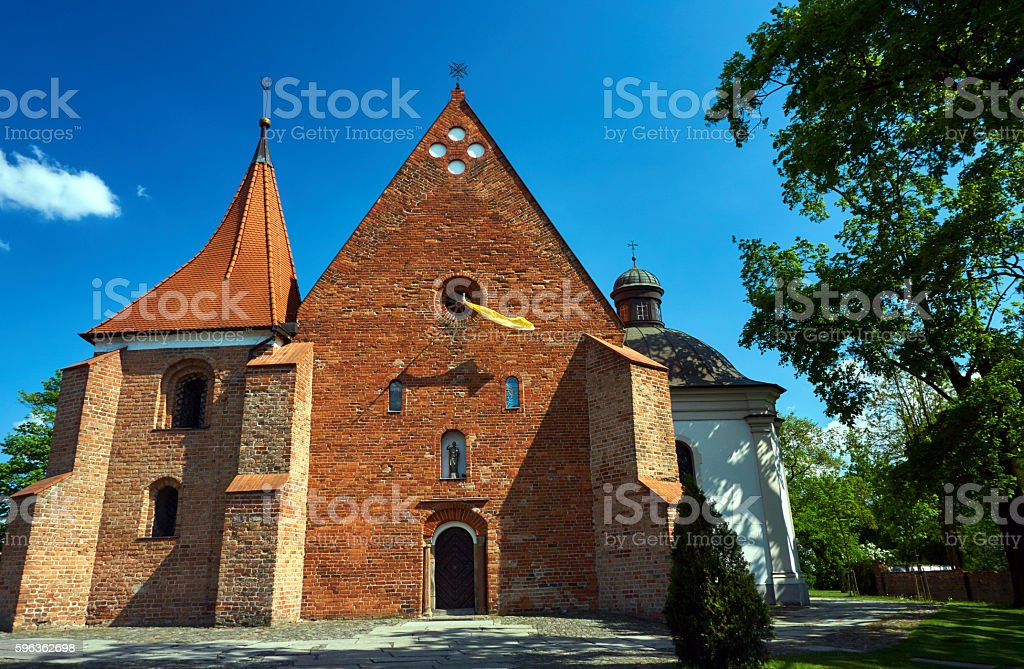 The facade of Romanesque church royalty-free stock photo
