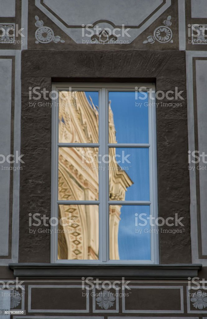 The facade of Santa Croce reflected stock photo