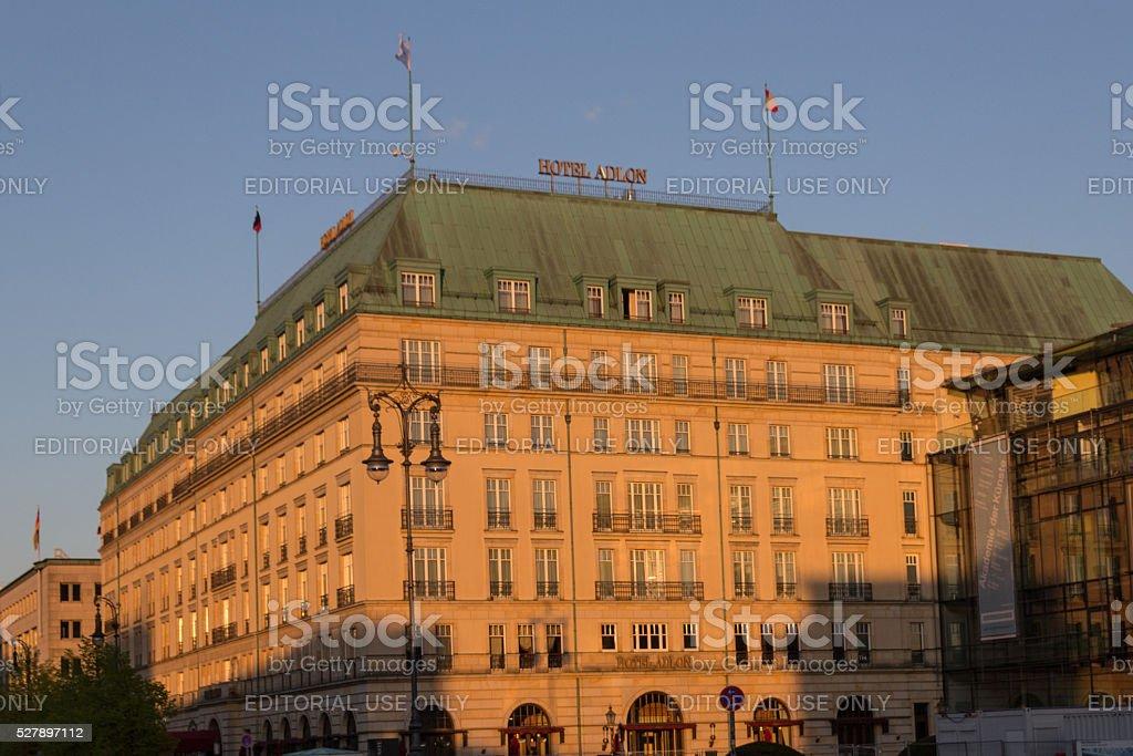 The facade of the Adlon hotel in Berlin. stock photo