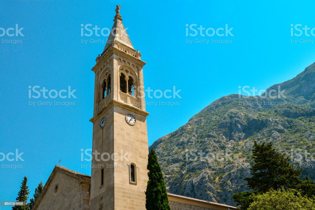 The facade of the church of St. Eustace stock photo