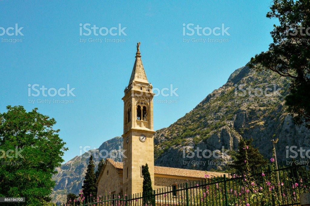 The facade of the church stock photo