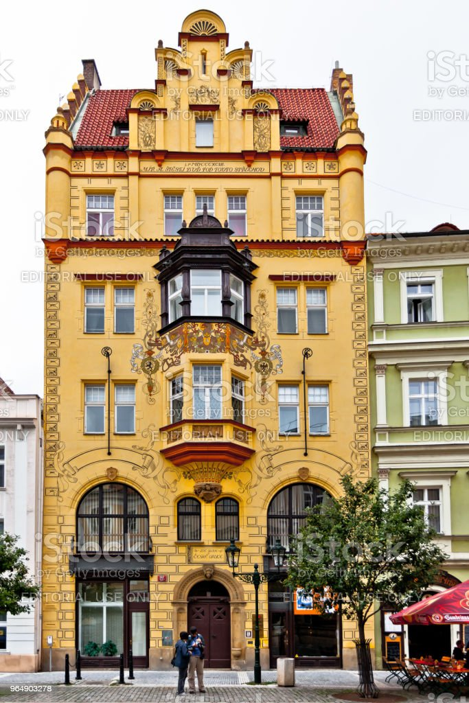 The facade of the house in the Art Deco style on Fruit market (Ovocný trh). royalty-free stock photo
