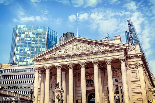 The facade of the Royal Exchange in the City of London
