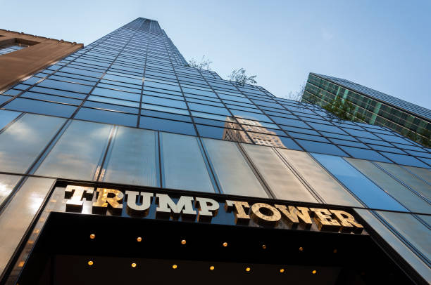 The facade of the Trump Tower in the city of New York stock photo