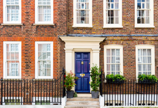 The facade to a traditional town house typical to the district of central London stock photo