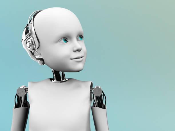 The face of a child robot. stock photo