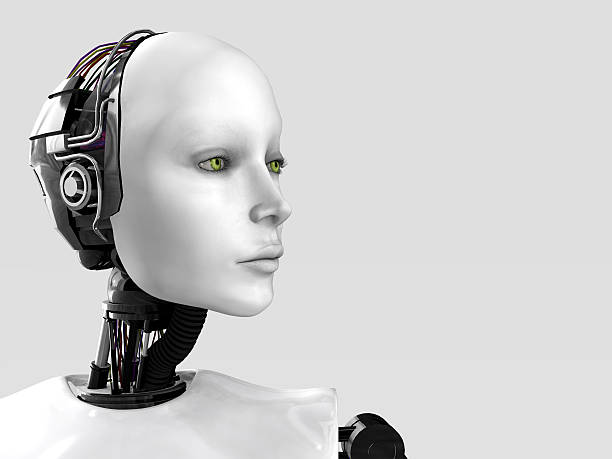 The face of a robot woman. stock photo
