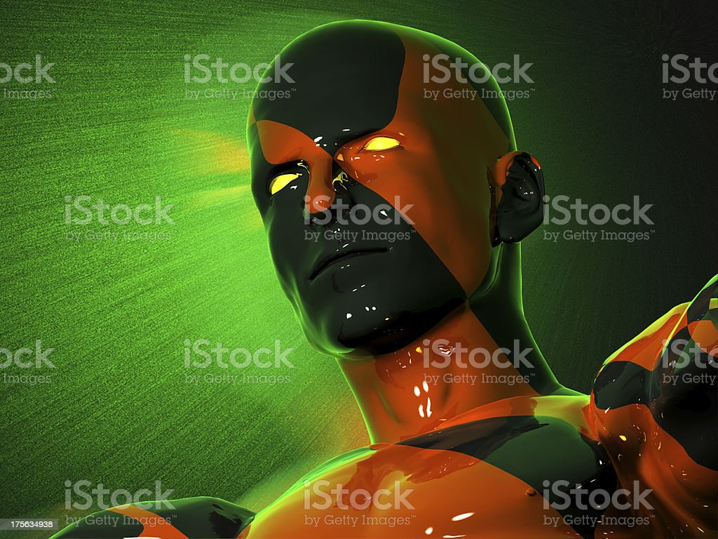 The face of abstract black-red man royalty-free stock photo