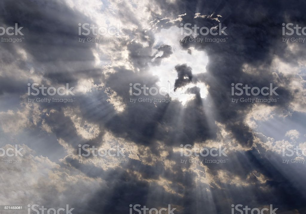 The face of Christ in the sky stock photo