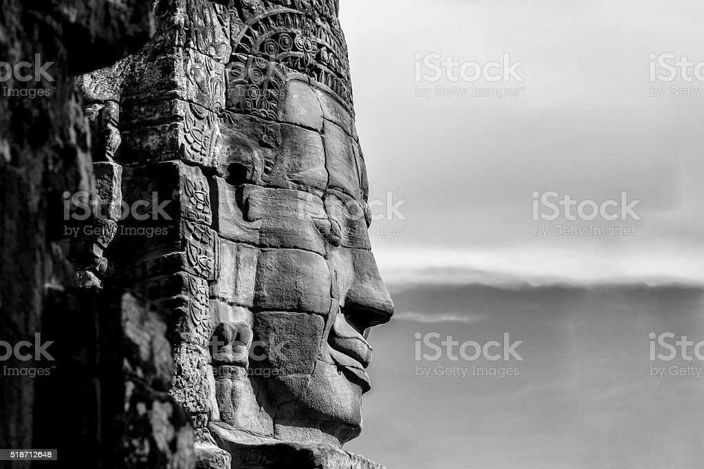 The face of the Buddha (B/W) stock photo