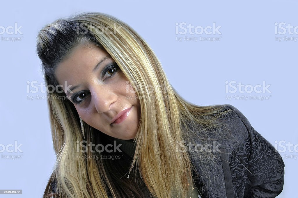 The face of women with long hair royalty-free stock photo
