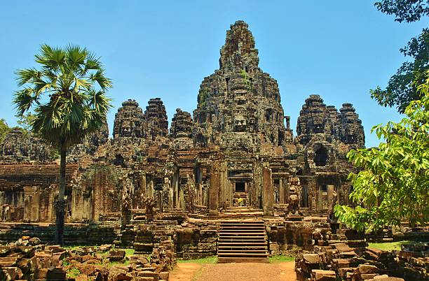 The Faces of The Bayon Temple, Cambodia stock photo