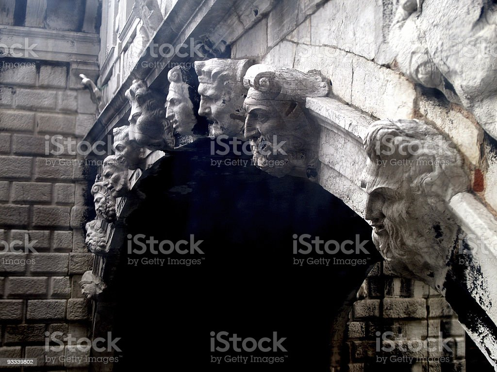 The Faces on the Bridge of Sighs stock photo