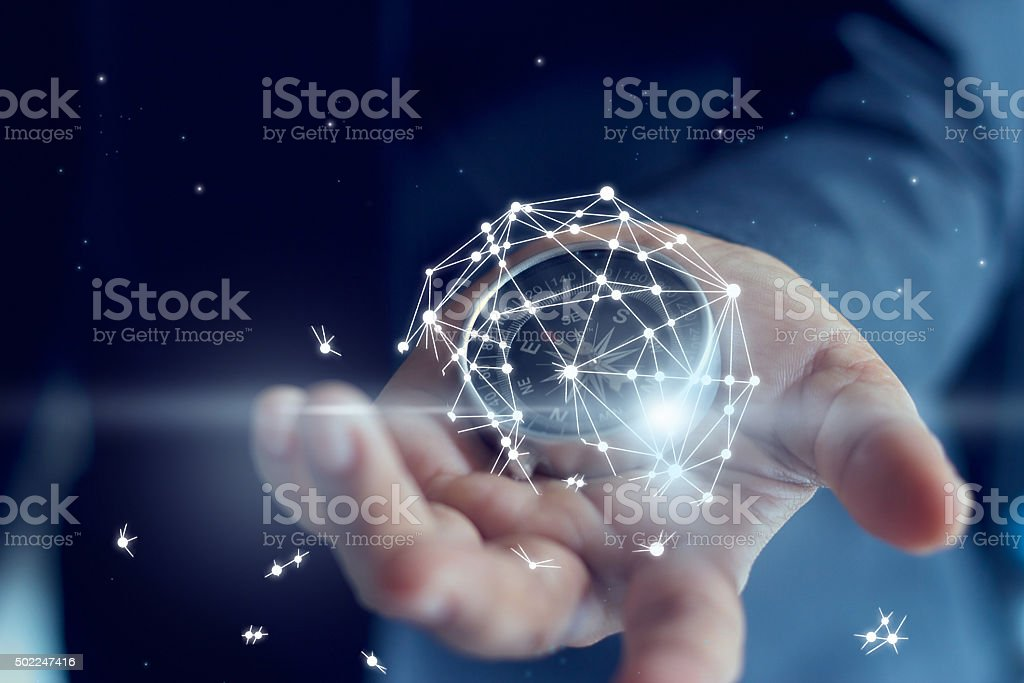 The failure of business shown by global network connection The failure of business shown by global network connection in hand of businessman is broken 2015 Stock Photo