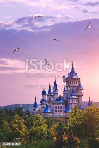 Eskisehir, Turkey - July 12, 2018: The Fairytale Castle in the sunset, Sazova Park, Eskisehir, Turkey