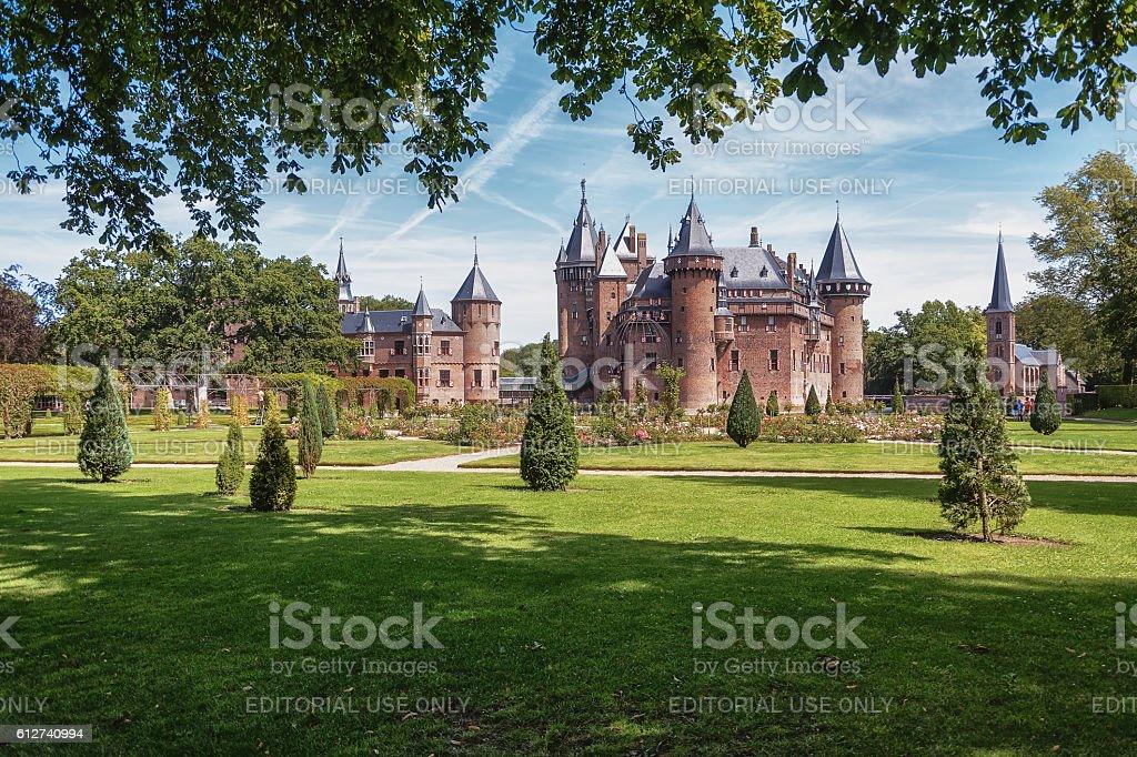 The fairytale Kasteel de Haar is located in the Dutch stock photo