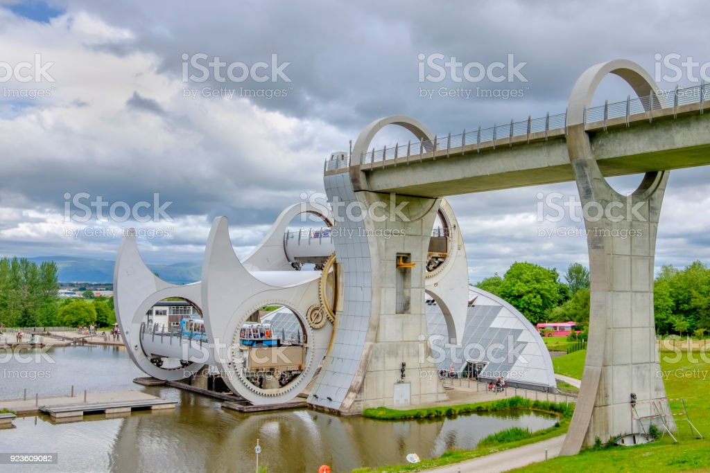 The Falkirk Wheel, a rotating boat lift connecting the Forth and Clyde Canal with the Union Canal. It opened in 2002. Scotland stock photo