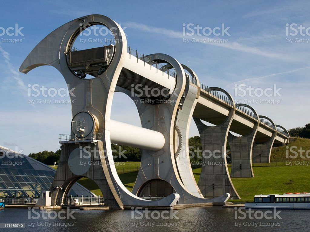 The Falkirk Wheel located in Falkirk, Scotland royalty-free stock photo