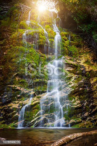 Waterfall La Chute cascading over green moss covered rocks in Forillon National Park, Gaspe peninsula, Quebec, Canada.