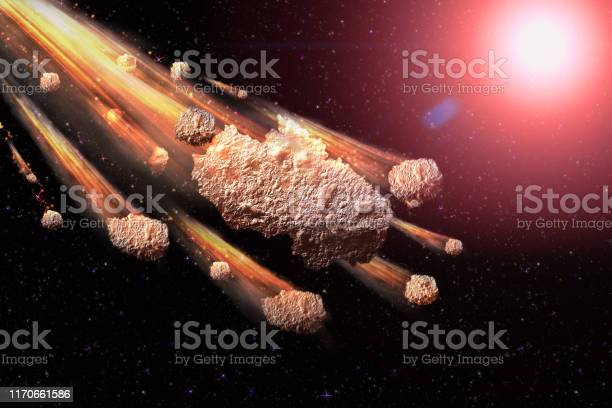Photo of The Falling Meteor Rain. Comet in space, meteor and energy, asteroid glow. Dramatic apocalyptic background - judgment day, end of world, asteroid impact. 3D illustration.