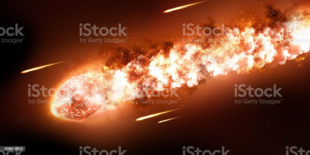 The Falling Meteor Rain. Comet in space, meteor and energy stock photo