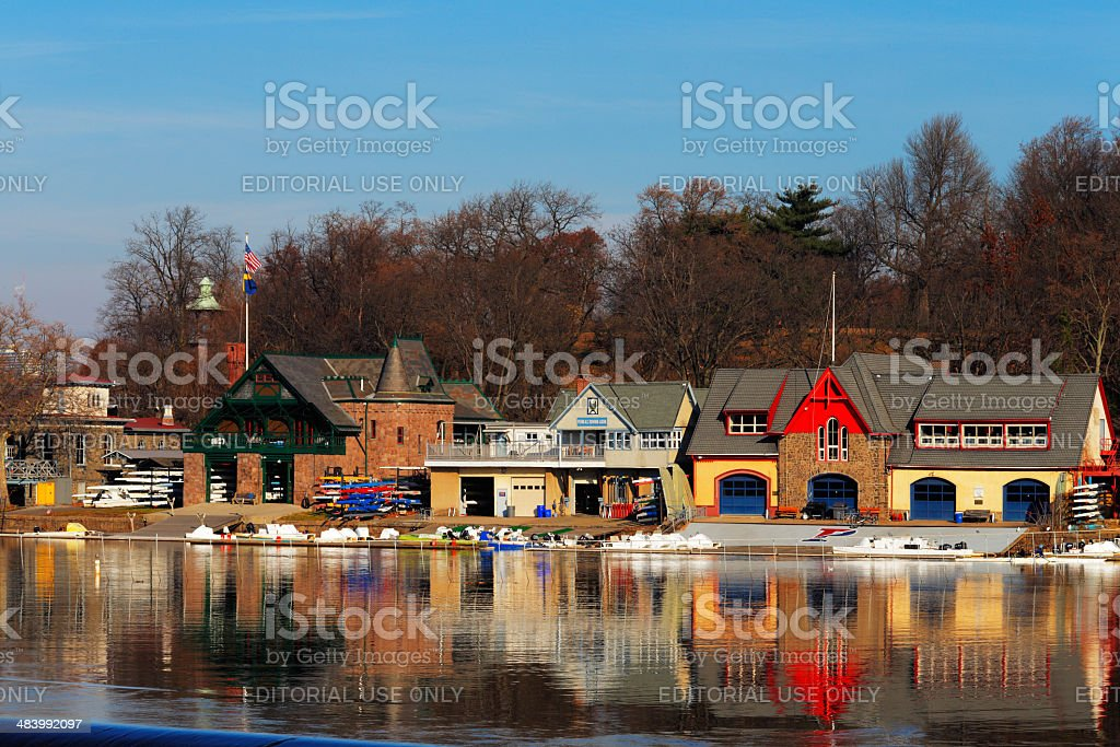 The famed Philadelphia's boathouse row in Fairmount Dam Fishway stock photo