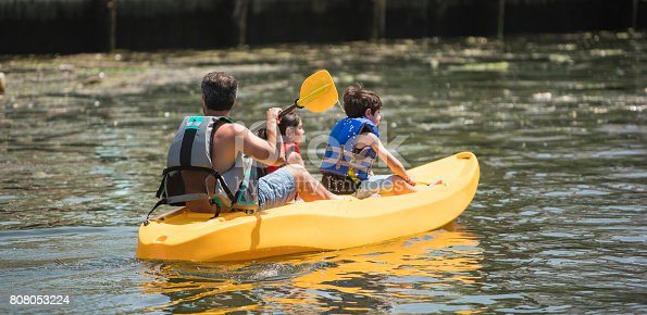 istock The family, father and two kids, kayaking on the canal in Long Island 808053224