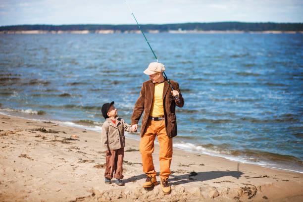 The Family fishing. stock photo