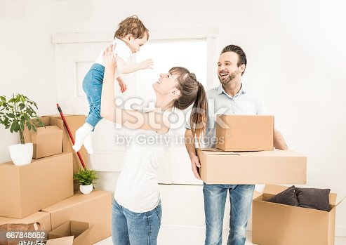 istock The family moves to a new apartment. 667848652