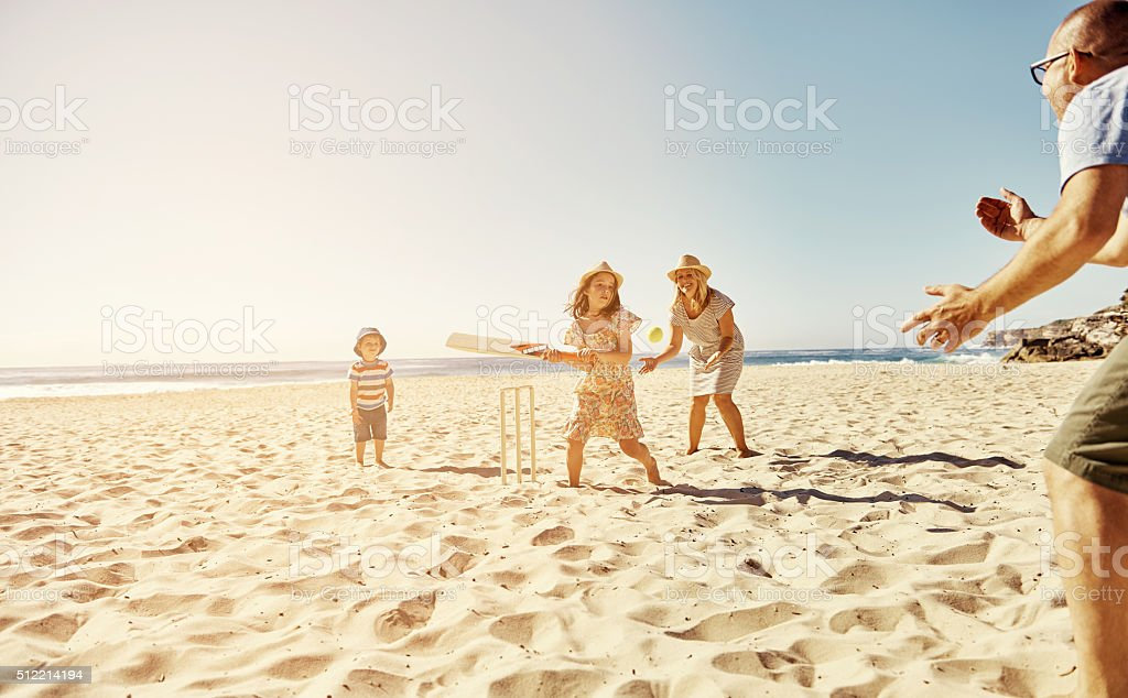 The family who plays together stays together stock photo