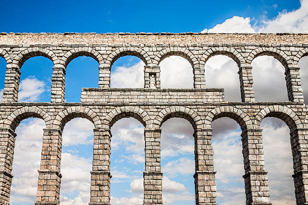 El famoso antigua acueducto de Segovia, comunidad autónoma de Castilla y león, España - foto de stock
