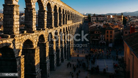 The famous ancient aqueduct in Segovia, Spain. Deliberate blur on people